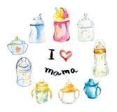 Kinderen` s kleine flessen en koppen Waterverfhand getrokken illustratie vector illustratie