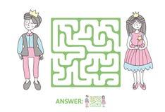 Kinderen` s labyrint met Prins en Prinses Raadselspel voor jonge geitjes, vectorlabyrintillustratie stock illustratie