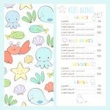 Kinderen` s menu in een mariene stijl stock illustratie
