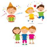 Kinderen` s Partij Gelukkige vrienden stock afbeeldingen