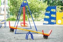 Kinderen` s speelplaats in de school Het concept kinderjaren, ouderschap, spelen Royalty-vrije Stock Foto's