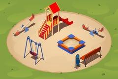 Kinderen` s speelplaats op een ronde zandopen plek onder het gras, isometrische vector Stock Foto's