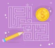Kinderen` s spel Labyrintvector Stock Afbeeldingen