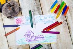 Kinderen` s tekening met potlood Royalty-vrije Stock Afbeelding