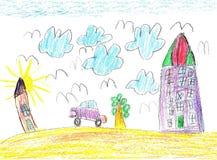 Kinderen` s tekening van de auto Stock Foto