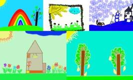 Kinderen` s tekeningen over het weer Stock Foto's