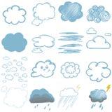 Kinderen` s tekeningen van wolken Royalty-vrije Stock Afbeeldingen