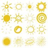 Kinderen` s tekeningen van zon Stock Afbeelding