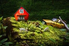 Kinderen` s verhaal over het leven van geiten in het bos Stock Afbeelding