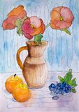 Kinderen` s waterverf het schilderen Stock Afbeelding