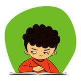 Kinderen in school - de jongen gluurt royalty-vrije illustratie