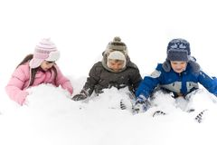 Kinderen in Sneeuw royalty-vrije stock foto