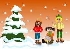 Kinderen in sneeuw Stock Fotografie