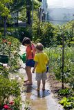 Kinderen in tuin Stock Fotografie