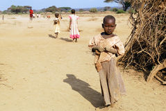 Kinderen van Masai-stam Stock Afbeeldingen