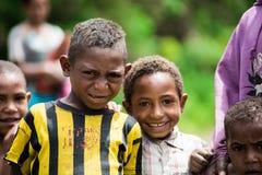 Kinderen van Papoea-Nieuw-Guinea Stock Foto