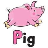 Kinderen vectorillustratie van weinig varken Stock Foto's