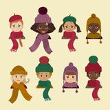 Kinderen in verschillend hoofddeksel De hoed van de de winterherfst royalty-vrije illustratie