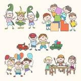 Kinderen in vriendelijkere tuinhand getrokken vector Stock Foto's