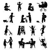 Kinderen Zwarte Reeks Stock Fotografie
