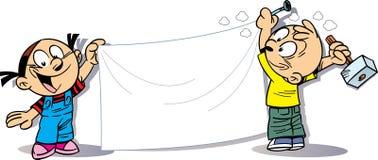 Kinderenbeeldverhaal met banner vector illustratie