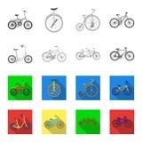 Kinderenfiets, dubbele types achter elkaar en andere Verschillende fietsen geplaatst inzamelingspictogrammen in zwart-wit, vlakke Royalty-vrije Stock Fotografie