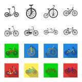 Kinderenfiets, dubbele types achter elkaar en andere Verschillende fietsen geplaatst inzamelingspictogrammen in zwarte, flet stij Royalty-vrije Stock Fotografie