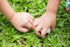 Kinderenhanden op gras Stock Afbeelding