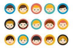Kinderenhoofden, avatar Kleuren vlakke vector Royalty-vrije Stock Foto
