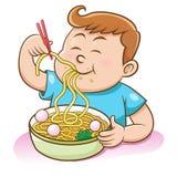 Kinderenjongen die noedels met eetstokjes eten stock illustratie