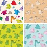 Kinderenkleren vier naadloze texturen Royalty-vrije Stock Afbeelding