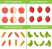 Kinderens onderwijsspel Vind twee zelfde beelden Vector illustratie royalty-vrije illustratie