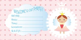 Kinderens uitnodiging Prinses Birthday Party Invitation stock illustratie