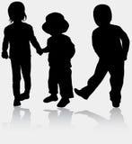 Kinderensilhouetten Stock Fotografie