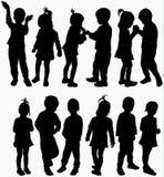 Kinderensilhouetten Royalty-vrije Stock Foto