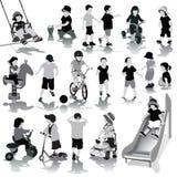 Kinderensilhouetten Stock Foto's