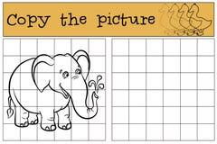 Kinderenspelen: Kopieer het beeld Weinig leuke olifant vector illustratie