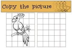 Kinderenspelen: Kopieer het beeld Weinig leuke papegaai vector illustratie