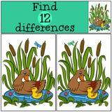 Kinderenspelen: Vind verschillen De moedereend zwemt op de vijver met haar weinig leuk eendje vector illustratie