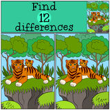 Kinderenspelen: Vind verschillen De moederkat legt met haar weinig leuke baby royalty-vrije illustratie
