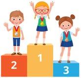 Kinderenstudenten in schoolkleren met medailles voor stan overwinning stock illustratie