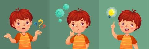 Kinderfrage Durchdachter Junge stellen Frage, verwirrtes Kind und verstehen oder fanden Antwortkarikatur-Vektorporträt lizenzfreie abbildung