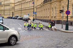 Kindergarden Children Crossing the Street Royalty Free Stock Photography