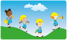 Kindergarten. Group of children walking and running Stock Images