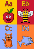 Kindergarten Alphabet A-D. Kindergarten alphabet, letters A, B, C and D. Four cute cartoon drawings representing an apple, a bee, a cat and a dolphin. Useful vector illustration