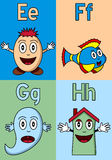 Kindergarten Alphabet E-H. Kindergarten alphabet, letters E, F, G and H. Four cute cartoon drawings representing an egg, a fish, a ghost and a house. Useful also royalty free illustration