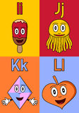 Kindergarten Alphabet I-L. Kindergarten alphabet, letters I, J, K and L. Four cute cartoon drawings representing an ice cream, a jellyfish, a kite and a leaf vector illustration