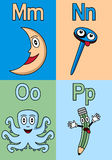 Kindergarten Alphabet M-P. Kindergarten alphabet, letters M, N, O and P. Four cute cartoon drawings representing the moon, a nail, an octopus and a pencil vector illustration