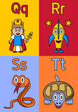 Kindergarten Alphabet Q-T. Kindergarten alphabet, letters Q, R, S and T. Four cute cartoon drawings representing a queen, a rocket, a snake and a turtle. Useful royalty free illustration