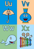 Kindergarten Alphabet U-X. Kindergarten alphabet, letters U, V, W and X. Four cute cartoon drawings representing an umbrella, a vase, a whale and a xylophone vector illustration